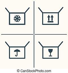 scatole, set, linea, icona