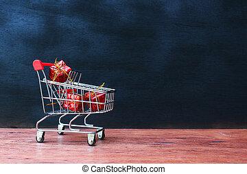 scatole, shopping, regalo, carrello