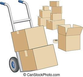 scatole, spostamento, carrello