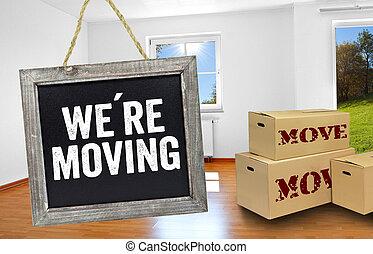 scatole, spostamento, stanza, lavagna