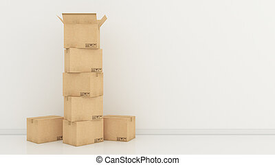 scatole, stanza, vuoto, 3d