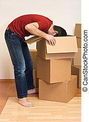 scatole, uomo, casa nuova, cartone, disimballaggio