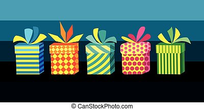 scatole, vettore, set, regalo