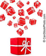 scatole, volare, rosso, regalo