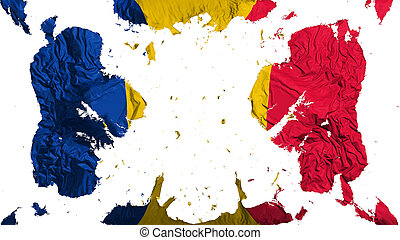 Scattered Chad flag, white background, 3d rendering