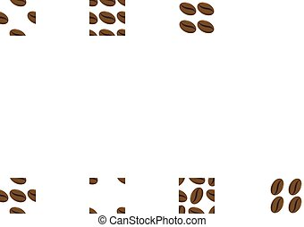 scattered coffee beans on white background in vector