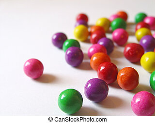 Scattered color gum - scattered colored chewing gum balls