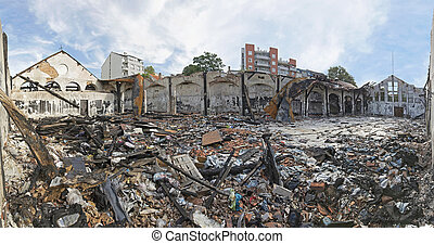 Debris After Fire - Scattered Debris After Fire in Garment...