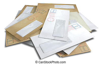 Scattered Envelopes - A scattered stack of regular envelopes...