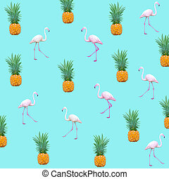 Scattered Flamingo birds and pineapples background