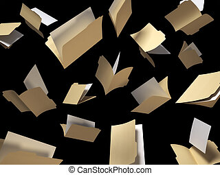 A shot of file folders scattered in the air on a black background