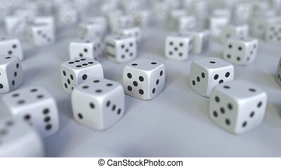 Scattered gambling dices. Realistic 3D animation, seamless...