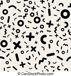 Scattered Geometric Line Shapes. Seamless Pattern.