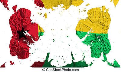 Scattered Guinea Bissau flag, white background, 3d rendering