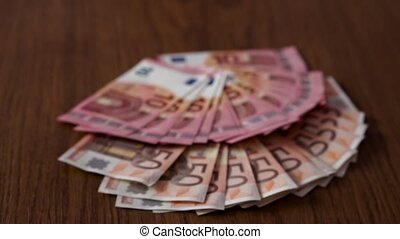 Scattered Many Euro on Table