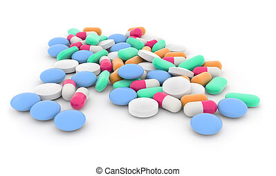 scattered mixed medicines - pills and capsules scattered on...