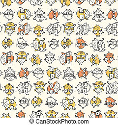 Scattered Nerd Bird Pattern