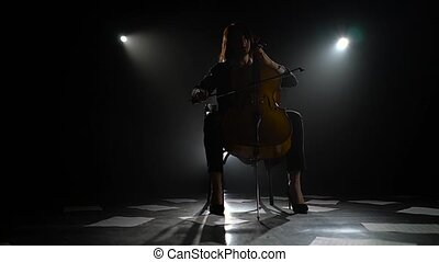 Scattered notes on the floor and the silhouette of a musician with a cello in a dark studio. Black smoke background