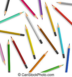 Scattered pencils on white background.