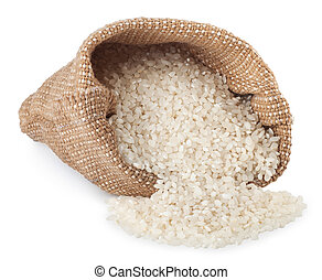 rice in bag isolated on white background