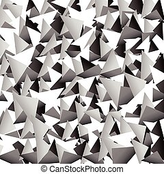 Scattered sharp, pointed triangle shapes. Grayscale abstract...