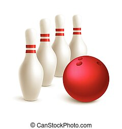 Scattered skittle and bowling ball. Vector illustration...