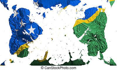 Scattered Solomon Islands flag, white background, 3d ...