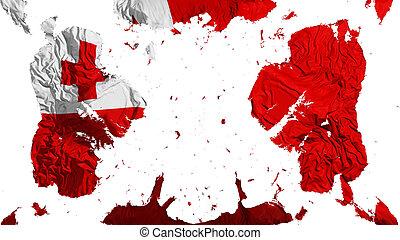 Scattered Tonga flag, white background, 3d rendering