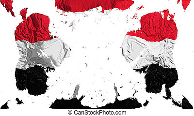 Scattered Yemen flag, white background, 3d rendering