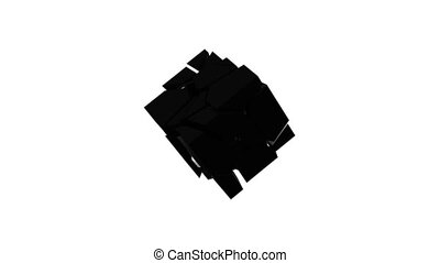 Scattering and picking up a black cube on an isolated background. Abstract digital backdrop