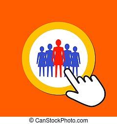 scatti, cursore, mano femmina, donna, concept., icon., direzione, button., squadra, topo, figure