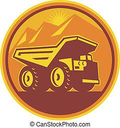 scavando camion, retro, discarica