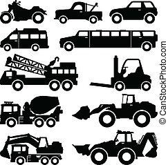 scavatore, camion, furgone, limousine, camion
