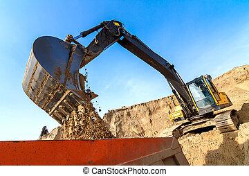 scavatore, caricamento, camion scaricatore