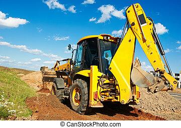 scavatore, caricatore, con, backhoe, lavori in corso
