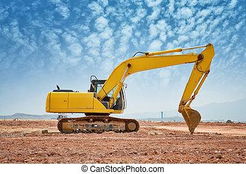 scavatore, caricatore, macchina, fuori, durante, lavori in ...