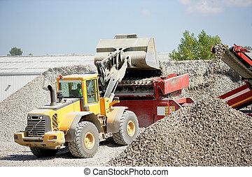 scavatore, ghiaia, spostamento