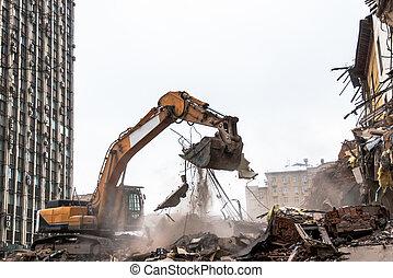scavatore, lavorando luogo, idraulico, frantoio, demolizione