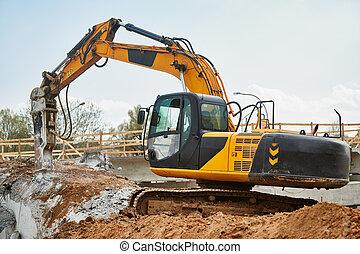 scavatore, martello, lavoro, idraulico, interruttore, demolizione