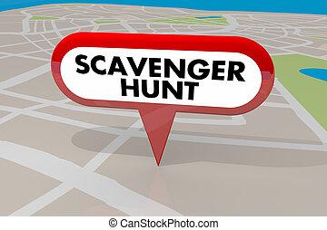 Scavenger Hunt Game Find Hidden Objects Map Pin 3d ...