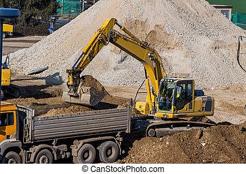 scavo, durante, luogo costruzione, scavatore