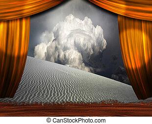 sce, 砂, 劇場, 砂漠, クリープ