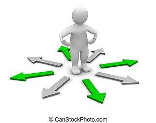 scegliere, di, destra, direction., 3d, reso, illustration.