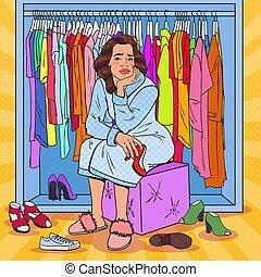 scegliere, donna, arte, femmina, scombussolare, pop, vettore, illustrazione, carino, wardrobe., clothing., moda, scarpe