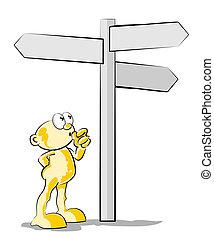 scegliere, il, destra, direzione