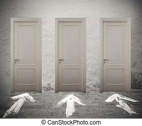 scegliere, il, destra, porta