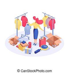 scegliere, prezzo, character., ricerca, analizzare, femmina, meglio, isometrico, clipart, boutique, isolato, marketer, 3d, shopping donna, prodotti, acquirente, consumismo, beni, illustration., vettore, vestiti