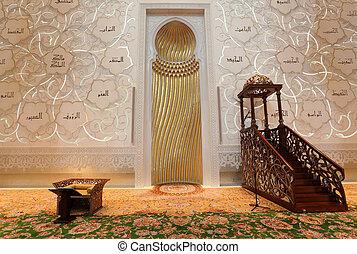 sceicco, unito, dentro, moschea, arabo, emirati, abu dhabi,...