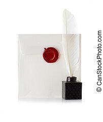 scellé, timbre, cire, enveloppe, isolé, stylo, lettre, cachet, courrier, blanc, ou, penne