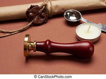scellage, enveloppe, timbre, rouleau, poignée, bougie, métal, papier, bois, brun